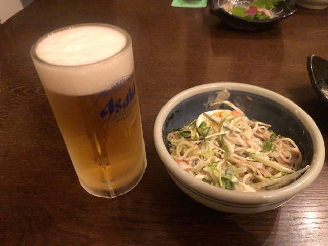 蕎麦サラダ10マヨまみれ6生ビールに合うのだ.jpg